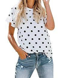 74af36350e1565 Saihui Damen Kurzarm Tops Sommer, Mode Frauen Casual Losen  Rundhalsausschnitt Weiß T-Shirt Tops