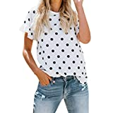 Saihui Damen Kurzarm Tops Sommer, Mode Frauen Casual Losen Rundhalsausschnitt Weiß T-Shirt Tops mit SchwarzT-Punkt Drucken (weiß, L)