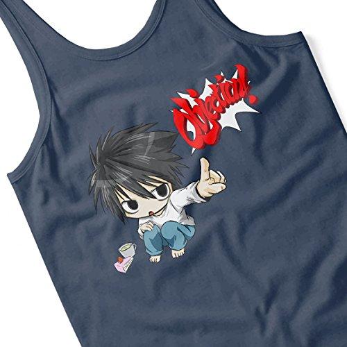 Objection L Death Note Women's Vest Navy blue