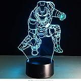 Film Anime 3D Lampe Super Heroes Captain America Ironman Spiderman Acryl Abbildung Flash Beleuchtung Spielzeug Für Kinder Nacht Lampe