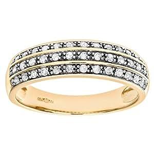 Naava 9 ct Yellow Gold 0.25ct Three Row Diamond Half Eternity Ring