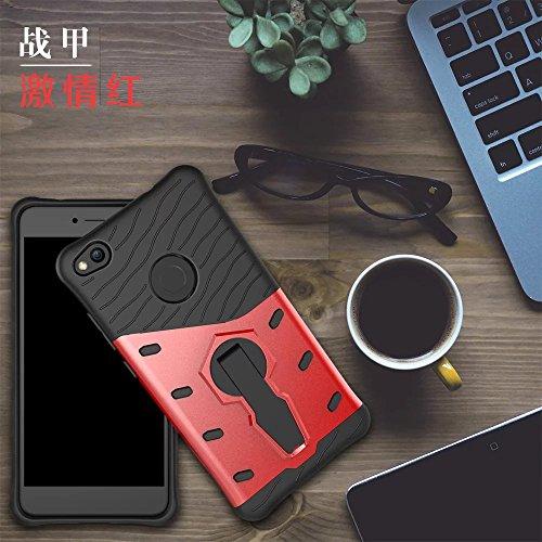 YHUISEN Hybrid Tough Rugged Dual Layer Rüstung Schild Schützende Shockproof mit 360 Grad Einstellung Kickstand Case Cover für Huawei P8 Lite 2017 / Huawei Honor 8 Lite 2017 ( Color : Gold ) Red