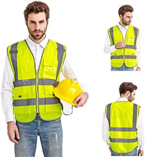 Multi-fuction High-visibility reflective vest fluorescent safety jacket vest with zipper reflective tape strip 4 pockets (Medium, yellow partial green)