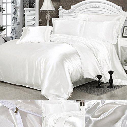 Seide Bettwäsche Set Bettbezug Seide Kissenbezug Spannbetttuch Satin Modern Leicht Weich Betten Set bequem (200x230cm, Weiß) (Seide Bettwäsche-sets)