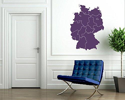 Wandtattoo Deutschlandkarte in verschiedenen Größen und Farben (100 x 136 cm, violett)