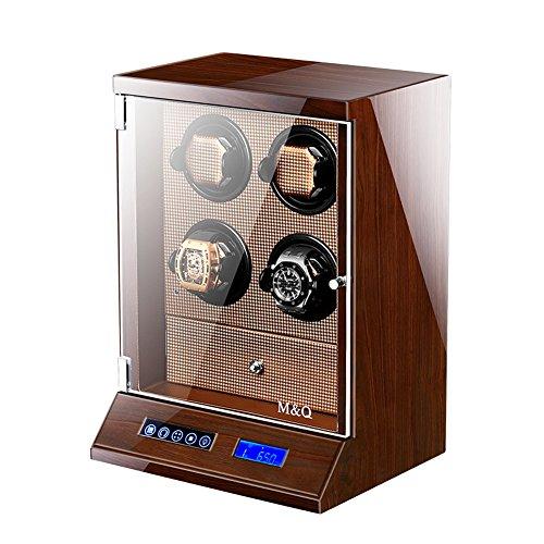 Automatischer Uhrenbeweger Für Männer, Smart LCD Touch Screen + Fernbedienung Uhr Aufbewahrungsboxen Mit LED-Leuchten [100% Handarbeit],Brown (Hamilton Uhren Für Männer)