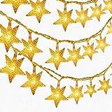 LED Lichterkette 5.5 Meter 50er LED Sterne Lichterketten Batteriebetrieben Warmweiß Innen Beleuchtung Deko für Garten, Wohnungen, Tanzen, Hochzeit, Weihnachtsfeier usw