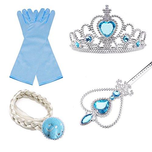 essin Elsa Kleid Kostüm Eisprinzessin Set aus Diadem, Handschuhe, Zauberstab (Elsa Frozen Kleid Für Mädchen)