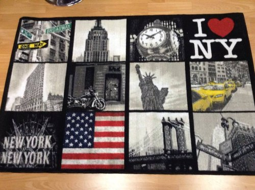 Alfombra Muebles con New York fondo antideslizante cm 133x 190Color Negro