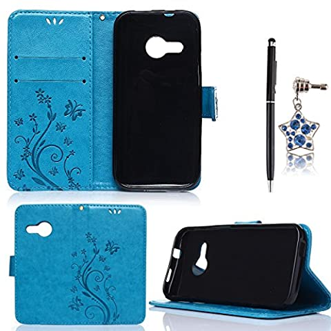 HB-Int 3 in 1 Flip PU Leather Case for HTC One Mini 2 ( M8 Mini ) Stand Function Blue Wallet Cover with Cards Slots Book Style Case Flower Print Bumper Magnetic Closure Shell Soft Silicone Protective Back Cover Holder + Stylus Pen + Dust
