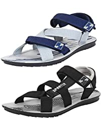 1742217d988a5 Bersache Men s Casual Combo Pack of 2 Canvas Multi-Color Sandal   Floater