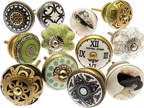 Mélange Lot de Shabby Chic Style Vintage poignées pour placards céramiques x Pk 12 (MG-264) - 'Vintage-Chic' TM Produit