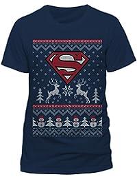 Noël Superman T-Shirt Reindeer & Snowman Christmas Homme Bleu