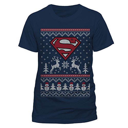 superman-t-shirt-reindeer-snowman-christmas-da-uomo-in-blu