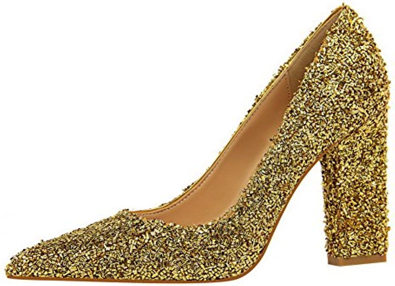 AllhqFashion Damen Pu Spitz Zehe Hoher Absatz Ziehen auf Rein Pumps Schuhe Golden 36