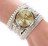XBY.mi 1PCS Weiße Runde Niet-Armband-Uhr-Damen-Lange Bügel-Uhr