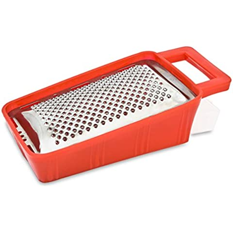 Menax - Rallador de Queso con Recipiente - Acero Inoxidable - Rojo - Made in Italy