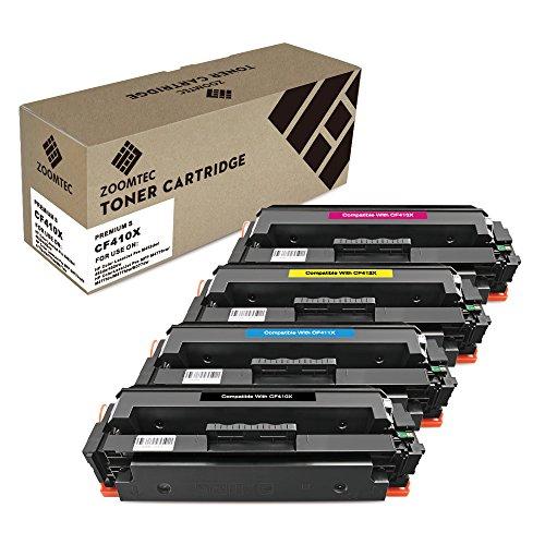 ZOOMTEC Compatibile con HP 410X CF410X CF411X CF412X CF413X Cartuccia toner compatibile per HP Color LaserJet Pro MFP M477fdn M477fdw M477fnw M452DN M452dw M452nw M377dw -Black, Ciano, Giallo, Magenta