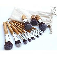 Contever® 11 pcs brochas de maquillaje profesional pelo natural Cosmético de sombra de ojos Fundación Corrector Cepillo Brocha Brush + Bolsa