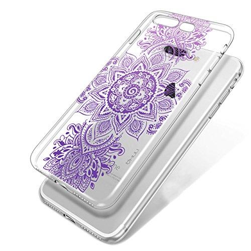 HULI Design Case Hülle für Apple iPhone 6 Plus / 6s Plus mit Rosen Muster - Handy Schutzhülle klar aus Silikon mit romantischen Blumen Romantik - Handyhülle durchsichtig mit Druck Mandala