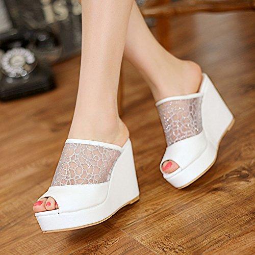 ZYUSHIZ Le Bureau imperméable High-Heel Shoes épais noir et blanc aux Philippines avec chaussons Sandales imperméable Mme Bureau 34