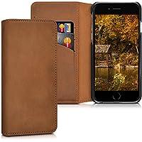 kalibri Hülle für Apple iPhone 6/6S - Wallet Case Handy Schutzhülle echtes Leder - Klapphülle Cover mit Kartenfach und Ständer Cognac