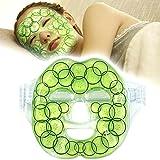 """Masque à froid avec gel de glace refroidisseur pour visage Grande thérapie froide à chaud pour anti-fatigue, insomnie avec sangle velcro - Rafraîchir la peau faciale, 8.3 """"x28.3"""""""