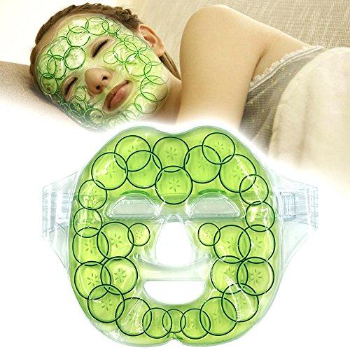 """Máscara fría con gel de hielo para la cara Gran Terapia Fría Caliente Anti-Fatiga, Insomnio con correa de velcro - Refrescar la piel facial, 8.3""""x28.3"""""""