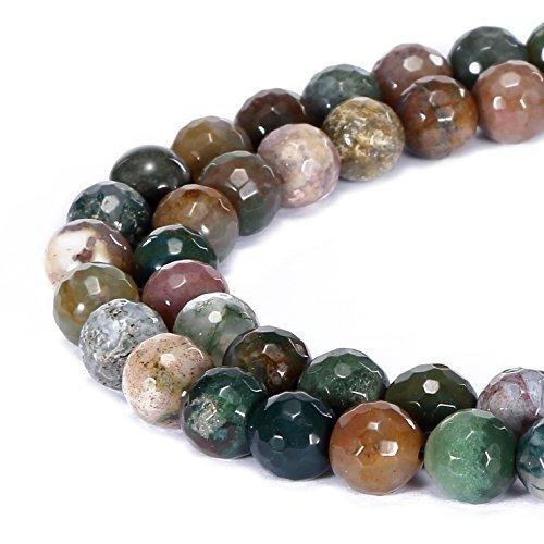 jennysun2010naturale pietra rotonda sfaccettata, perle 4mm, 6mm, 8mm, 10mm, 12mm, 1filo per borsa per braccialetto collana orecchini gioielli artigianato design guarigione, Indian Agate, 6 mm