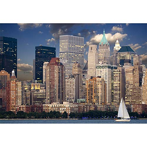 YongFoto 1,5x1m Vinyl Foto Hintergrund New York City Skyline Manhattan Downtown Nachtsicht Fotografie Hintergrund Fotostudio Hintergründe Requisiten