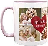 Personello® Fototasse Beste Mama der Welt, Tasse (rosa) mit 4 Fotos und Text im Herz gestalten, spülmaschinenfest, Geschenk für Mutter, Muttertagsgeschenk, Fotogeschenk