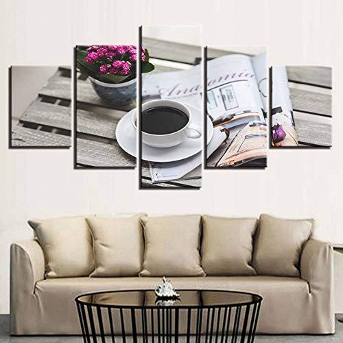 HOMEDCRLeinwanddruck Wandbilder Für Wohnkultur Leinwandbilder Wohnkultur 5 Stücke Kaffee gemälde Für Wohnzimmer Modulare Hd Drucke Freizeit Poster Wandkunst (rahmenlose) -