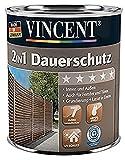 VINCENT 2in1 Dauerschutzlasur Dickschichtlasur mit Abperl-Effekt Innen & Außen 2,5 L, Farbton Wählbar, Farbe:Nussbaum dunkel