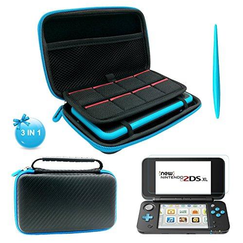Black Tragetasche für neue Nintendo 2DS XL - mit 2 Displayschutzfolie Film- 1 Elektromagnetische Touch Pan One Xl Carry Case