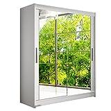 Modernes Schwebetürenschrank Westa XI mit Spiegel, Kleiderschrank mit Spiegel, Schlafzimmerschrank, Schiebetürenschrank, Garderobe, Schlafzimmer (Weiß)