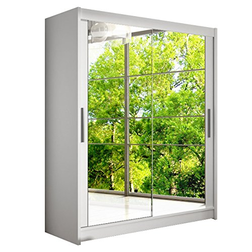 Modernes Schwebetürenschrank Westa XI mit Spiegel, Kleiderschrank mit Spiegel, Schlafzimmerschrank, Schiebetürenschrank, Garderobe, Schlafzimmer (Weiß) -