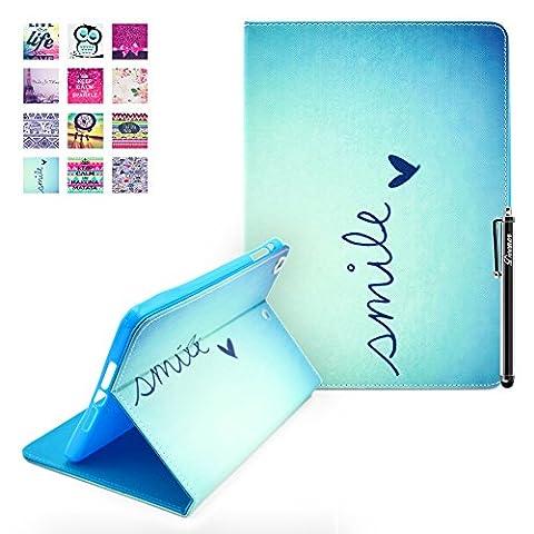 iPad Air Hülle, Deenor Signature Design PU Leder Abdeckung Stand Flip Schutzhülle Hülle für Apple iPad Air (2013 Version). (Signature)