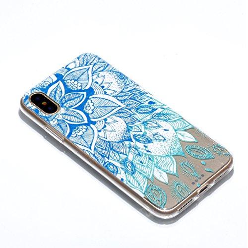 Ecoway Apple iphone X Case Cover, TPU Clear Soft Silicone Impression de la cire d'huile Housse en silicone Housse de protection Housse pour téléphone portable pour Apple iphone X - Motif 1 Motif 10