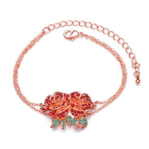 Liuanan placcato oro 18K con pavè di zirconi bouquet fiore catena braccialetto-mamma,