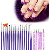 GHB Pinceles para Uñas Decoración de Uñas Nail Art Set 20 Pcs