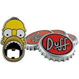 The Simpsons - Duff Beer Untersetzer Coaster 4er Set - + Homer Flaschenöffner