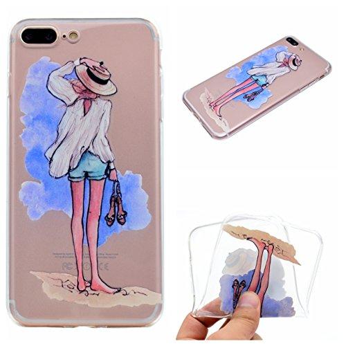 iPhone 7 Plus 5.5 Hülle, Voguecase Silikon Schutzhülle / Case / Cover / Hülle / TPU Gel Skin für Apple iPhone 7 Plus 5.5(Wellenpunkt Mädchen) + Gratis Universal Eingabestift Strandmädchen