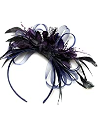 Azul marino y morado oscuro Tocado Diadema Cabello de plumas de aro neta boda Royal Ascot de carreras