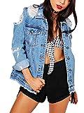 ORANDESIGNE Damen Lose Jeansjacke Vintage Langen Ärmel Denim Mantel mit Loch Beiläufig Freund Zerrissene Jeans Jacken Blau DE 42