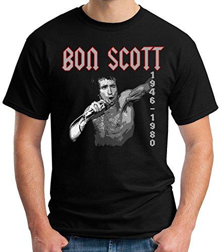 35mm - Camiseta Hombre - Bon Scott - Acdc - 1946/1980 - T-Shirt, NEGRA, L