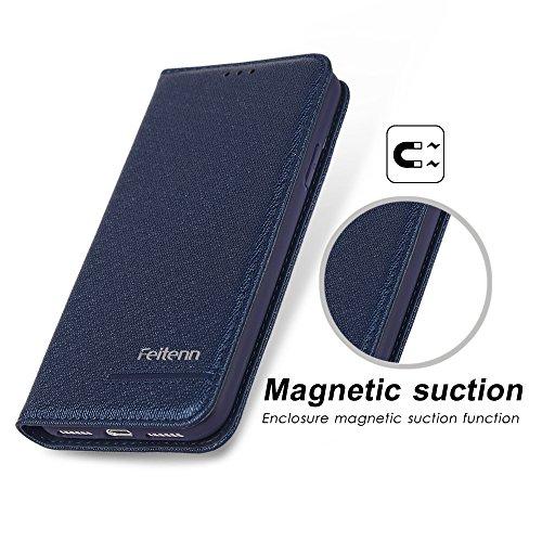 Apple iPhone 8 Handyhülle, Feitenn dünne Premium PU Leder Flip Handy Schutzhülle | TPU-Stoßstange, Magnetverschluss, Kartenschlitz, Kameraschutz- und Standfunktion Brieftasche Etui (Rot) Blau