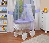 WALDIN Baby Stubenwagen-Set mit Ausstattung,XXL,Bollerwagen,komplett,6 Modelle wählbar,Gestell/Räder weiß lackiert,Stoffe lila/weiß