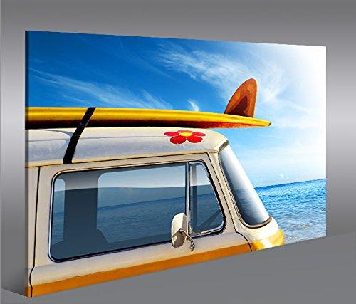 De Imágenes sobre lienzo Surf Bulli Bus hippie 1P XXL Póster Lienzo Cuadro de decoración salón Marca Islandburner