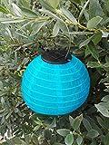 LED Solar Lampion Warmweiss - Wetterfeste Garten Beleuchtung Party Laterne (blau, 30 cm)