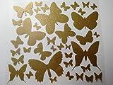 Bügelbild, Motiv: Schmetterlinge, Farbe: goldglitzernd, heißsiegelfähige Flexfolie